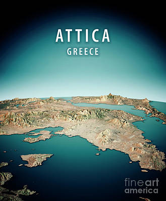 Geography Digital Art - Attica Greece 3d Render Satellite View Topographic Map Vertical by Frank Ramspott