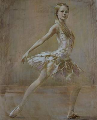 Painting - Attitude Ballerina Painting On Leatheder by Vali Irina Ciobanu
