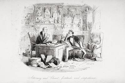 Bleak Drawing - Attorney And Client, Fortitude And by Vintage Design Pics