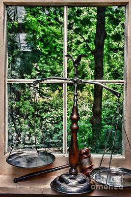 Solicitors Photograph - Attorney - Scales Of Justice In The Window by Paul Ward