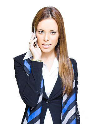Attractive Confident Business Woman On Smart Mobile Phone Art Print