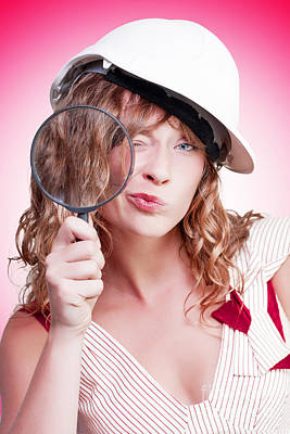 Hard Hats Photograph - Attractive Female Building Inspector With Hardhat by Jorgo Photography - Wall Art Gallery