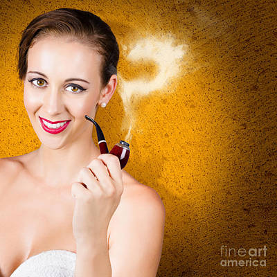 Ponders Photograph - Attractive Lady Pondering Solutions With Pipe by Jorgo Photography - Wall Art Gallery