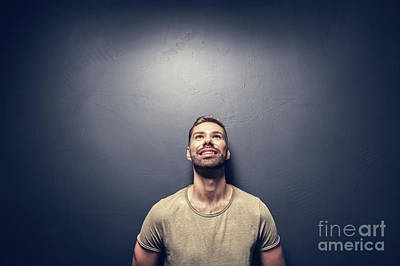 Photograph - Attractive, Smiling Man Leaning Against The Wall. by Michal Bednarek