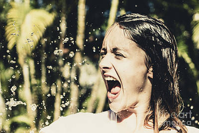 Shark Art - Attractive woman at play in tropical water fall by Jorgo Photography