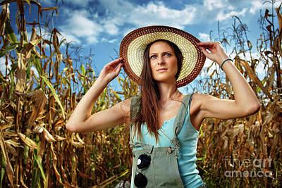 Attractive Woman Farmer In The Cornfield Art Print by Catalin Petolea