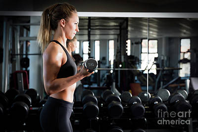 Exercise Photograph - Attractive Woman Weightlifting At The Gym. by Michal Bednarek