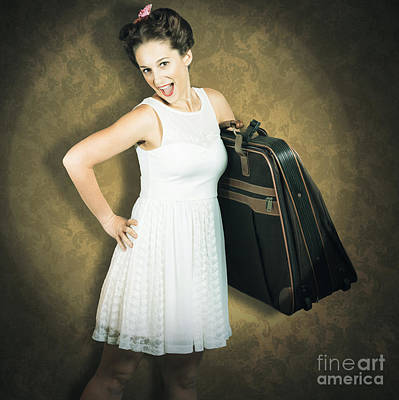 50s Photograph - Attractive Young 1950s Woman Ready For Travel Tour by Jorgo Photography - Wall Art Gallery