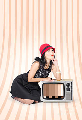 Attractive Young Pin-up Lady On Television Art Print by Jorgo Photography - Wall Art Gallery