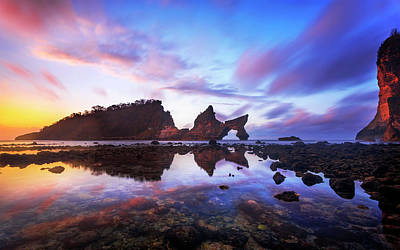 Photograph - Atuh Beach Dawn Break Scene by Pradeep Raja Prints