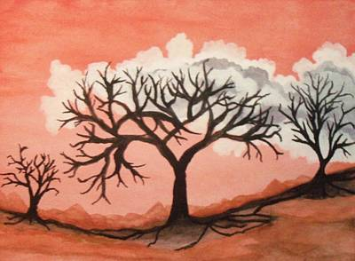 Art Print featuring the painting Atumn Trees by Connie Valasco