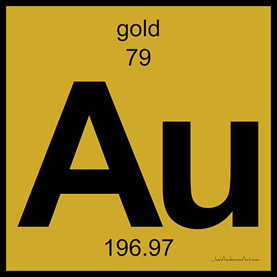 Digital Art - Au Gold - Periodic Table Of Elements by Joel Anderson Art