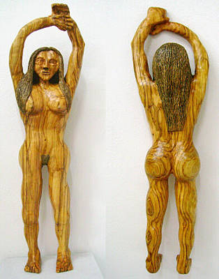 Sculpture - Au Naturelle  Olive Wood Sculpture by Eric Kempson
