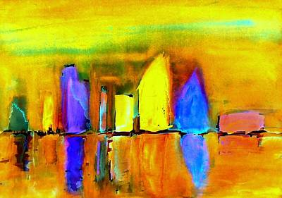 City Scape Painting - Aubade - To Love by VIVA Anderson