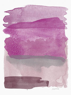 Card Painting - Aubergine Wash- Art By Linda Woods by Linda Woods