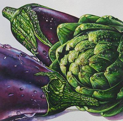 Aubergines And An Artichoke Art Print