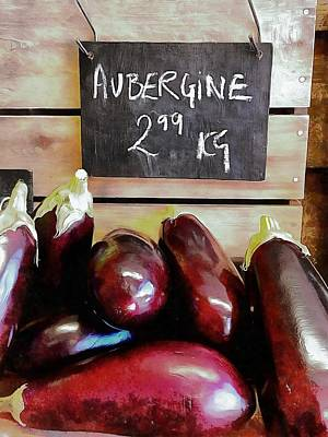 Photograph - Aubergines Sales Display by Dorothy Berry-Lound