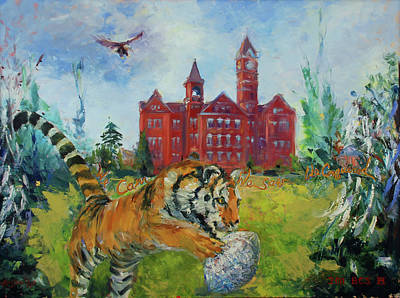 Toomers Corner Painting - Auburn Football Winning Year by Ann Bailey