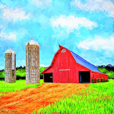 Mixed Media - Lowder Red Barn - Auburn Ag Heritage Park by Mark Tisdale