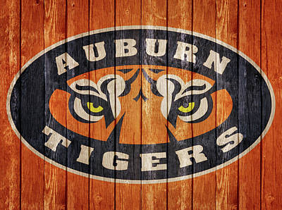 Tiger Mixed Media - Auburn Tigers Barn Door by Dan Sproul