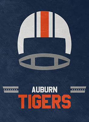 Ncaa Mixed Media - Auburn Tigers Vintage Football Art by Joe Hamilton