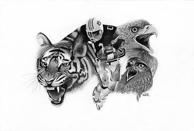 Auburn Drawing - Auburn Tigers War Eagle by Bryan Knudsen