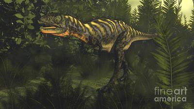 Kids Alphabet - Aucasaurus Dinosaur Walking Amongst by Elena Duvernay