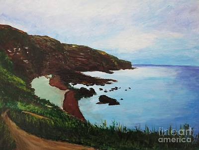 North Sea Painting - Auchmithie Beach, Scotland by CE Dill