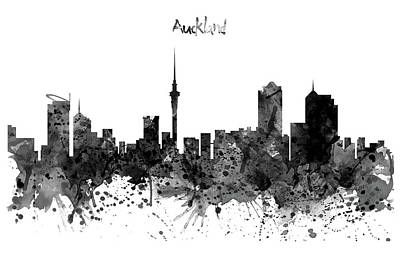 Auckland Black And White Watercolor Skyline Print by Marian Voicu