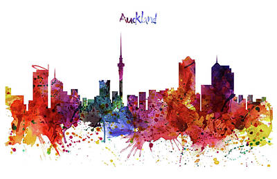 Auckland Watercolor Skyline Print by Marian Voicu
