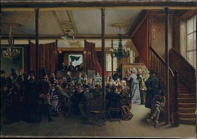 Auction Sale In Clinton Hall New York 1876 Original by Ignacio de Len y Escosura
