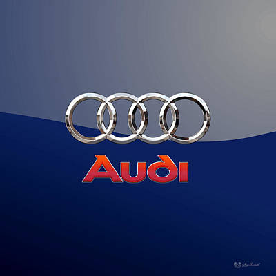 Digital Art - Audi 3 D Badge 2.0 On Blue by Serge Averbukh