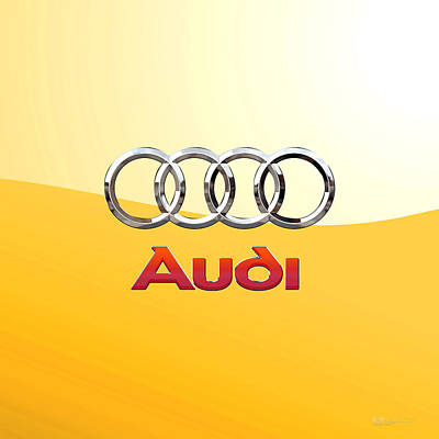 Digital Art - Audi 3 D Badge 2.0 On Yellow by Serge Averbukh