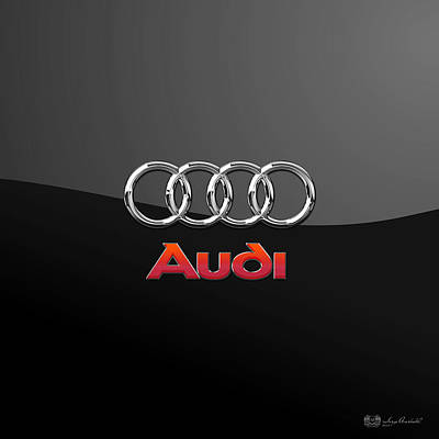 Audi 3 D Badge On Black Art Print by Serge Averbukh