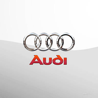 Digital Art - Audi 3 D Badge On White 2.0 by Serge Averbukh