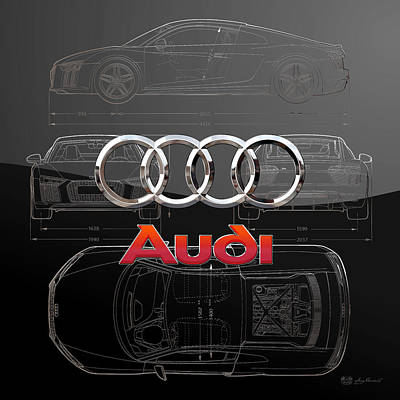 Digital Art - Audi 3 D Badge Over 2016 Audi R 8 Silver Blueprint On Black Special Edition by Serge Averbukh