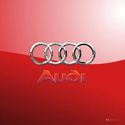 Digital Art - Audi - 3d Badge On Red by Serge Averbukh