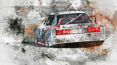 Painting - Audi 90 Quattro Imsa Gto - Watercolor 02 by Andrea Mazzocchetti