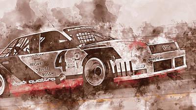 Painting - Audi 90 Quattro Imsa Gto - Watercolor 06 by Andrea Mazzocchetti