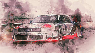 Painting - Audi 90 Quattro Imsa Gto - Watercolor 07 by Andrea Mazzocchetti