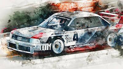 Painting - Audi 90 Quattro Imsa Gto - Watercolor 10 by Andrea Mazzocchetti