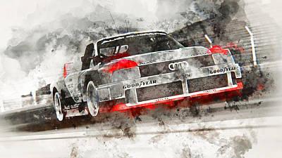 Painting - Audi 90 Quattro Imsa Gto - Watercolor 14  by Andrea Mazzocchetti