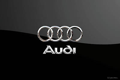 Digital Art - Audi Badge - Luxury Edition On Black by Serge Averbukh