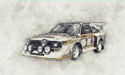 Transportation Royalty-Free and Rights-Managed Images - Audi Quattro 1 - Rally Car - 1980 - Automotive Art - Car Posters by Studio Grafiikka