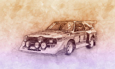 Mixed Media Royalty Free Images - Audi Quattro 2 - Rally Car - 1980 - Automotive Art - Car Posters Royalty-Free Image by Studio Grafiikka