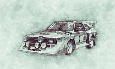 Transportation Royalty-Free and Rights-Managed Images - Audi Quattro 3 - Rally Car - 1980 - Automotive Art - Car Posters by Studio Grafiikka