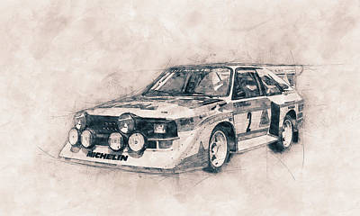Transportation Royalty-Free and Rights-Managed Images - Audi Quattro - Rally Car - 1980 - Automotive Art - Car Posters by Studio Grafiikka