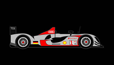 Lonvig Digital Art - Audi R15 by Asbjorn Lonvig