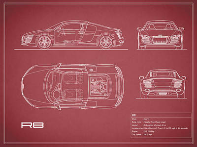 Audi Photograph - Audi R8 Blueprint - Red by Mark Rogan