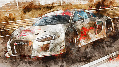Painting - Audi R8 Lms - Watercolor 01 by Andrea Mazzocchetti